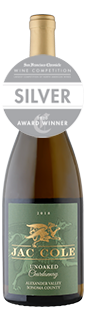 Jac Cole Alexander Valley Unoaked Chardonnay 2018